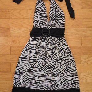 Dots Zebra Print Halter Stretchy Comfy Dress Small
